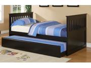 WOODEN DAYBED W/ TRUNDLE CONTEMPORARY STYLE IN BLACK BY POUNDEX