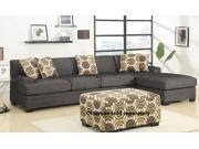 2pc Sectional Sofa in Ash Black Linen