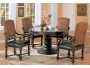"""Riverside 54"""" Round Semi-Formal Dining Set in Dark Wood Finish by Coaster"""
