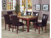 Telegraph Rectangular Marble Top Dining Set in Medium Brown by Coaster