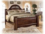 """""""Famous Collection"""" Queen Poster Headboard DarkRed Mahogany  Finish"""