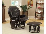 Leather-Like Vinyl Recliner with Ottoman by Coaster