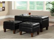 3 Piece Black Vinyl Bench and Ottoman Set