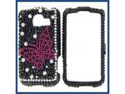 LG LS670 (Optimus S) / VM670 (Optimus V) Full Diamond Black with Hot Pink Butterfly Protective Case