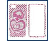 Motorola MB810 (DROID X) / MB870 (DROID X2) Full Diamond Pink Silver Heart Protective Case
