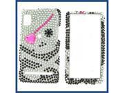 Motorola A955/A956 (Droid 2) Full Diamond Black Skull #1 Protective Case