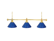 Premium 60 Inch 3 Shade Billiard Lamp Blue and Gold