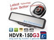 NEW KiWAV ABEO HDVR-150 G3 car dvr recorder rear mirror LCD HD FHD 1080P wide angle GSensor MotionDetect ZoomInOut 4GB