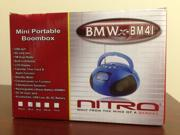 New BMW-BM41 Nitro Mini Portable Boom Box with USB Port, SD Card Slot, Alarm Clock, FM Radio, MP3, and LCD Display