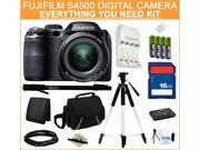 FUJIFILM S4500 Black 14.0 MP 30X Optical Zoom Wide Angle Digital Camera, Everything You Need Kit, 16202014
