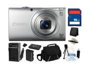Canon PowerShot A4000 IS (Silver) 16.0 MP 8X Optical Zoom 28mm Wide Angle Digital Camera with 720p HD Video Recording, Everything You Need Kit, 6148B001