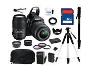 Nikon D3100 14.2MP Digital SLR Camera with 18-55mm f3.5-5.6 AF-S DX VR Nikkor Zoom Lens and Nikon AF-S NIKKOR 55-300mm f/4.5-5.6G ED VR Zoom Lens, Everything You Need Kit, 25472