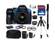 PENTAX K-30 Lens Kit Blue 16.3 MP Digital SLR with 18-55mm Lens, Everything You Need Kit, 15758