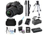 Nikon D5300 DSLR Camera with 18-55mm Lens (Black) + (Professional Tripod/Monopod Bundle Kit)