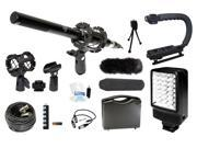 Microphone Complete Camcorder Kit for Canon XF205 + LED Flash, Microphone, Grip
