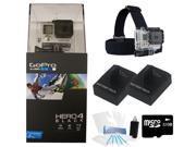 GoPro Hero 4 Black Edition Camcorder + Head Mount + Dual Battery Holiday Bundle