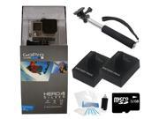 """GoPro Hero 4 Silver Edition + 43"""" Extendable Pole + Dual Battery Holiday Bundle"""
