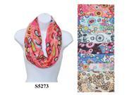 12 Pieces Wholesale Lot Women Lady Infinity Flower Fashion Scarf Color Block Chunk Circle Double Loop Wrap. S5273