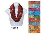 12 Pieces Wholesale Lot Women Lady Infinity Cheetah Print Color Block Chunk Circle Double Loop Scarf Wrap. S5252
