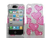 Apple iPhone 4 (4th Gen.) Raining Heart Diamante Snap On Protective Case Cover