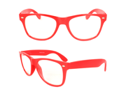 MLC Eyewear TU8841CN-RDCL Stylish Wayfarer Sunglasses Red Frame Clear Lenses for Women and Men