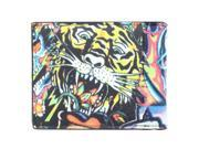 YL Fashion 'Ed Tiger & Calra' Men's Leather Print Bi-fold Wallet in Multi Color