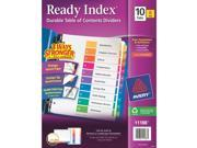Avery Consumer Products AVE11188 Ready Index Dividers- 1-10 Tab- 3HP- 8-.50in.x11in.- 6-ST- Asst