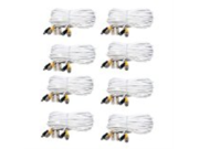 VideoSecu 8 Pack 66ft Feet BNC RCA Video Power Wires CCTV Surveillance Security Camera Extension Cables Cords with Free Connectors CBK