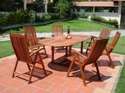 Vifah 7-Piece Outdoor Wood Dining Set with Oval Extension Table