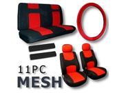 Red & Black Cool Breathable Mesh Seat Covers with Steering Wheel & Seat Belt Pads Low Back