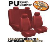 Solid Red PU Low Back Synthetic Leather Seat Covers with Steering Wheel & Seat Belt Pads