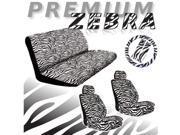 White Zebra Seat Covers Set – 11pc Safari Animal Print