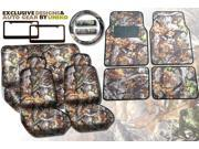 Gray Forest Camo Seat Covers & Floor Mats Set – 17pc Full Interior – Surreal Natural Camouflage BONUS Black metal License Plate Frames