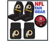 NFL Fan Gear – Washington Redskins Bucket Seat Covers Pair – 2 Piece Rubber Floor Mats – Steering Wheel Cover