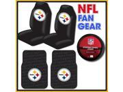 NFL Fan Gear – Pittsburgh Steelers Bucket Seat Covers Pair – 2 Piece Rubber Floor Mats – Steering Wheel Cover