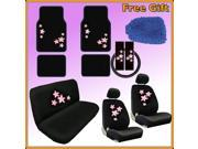 Pink Spring Flowers Seat Covers & Floor Mats Set – 15pc w/ BONUS Wash Mitt