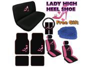 Lady High Heel Seat Covers & Floor Mats Set – 15pc w/ BONUS Wash Mitt