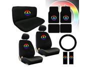 Rainbow Peace Sign Seat Covers & Floor Mats Set – 15pc