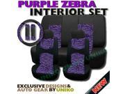 Mesh Purple Zebra Seat Covers – Animal Print Accent on Thick Padded Black Mesh – Exclusive from Unique Imports