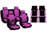 Pink & Black Two Tone PU Low Back Synthetic Leather Seat Covers with Tribal Logo Vinyl Trim Mats