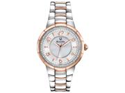 Bulova Diamond Silver Dial Two Tone Stainless Steel Bracelet Ladies Watch 98R162
