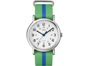 Timex Weekender White Dial Green and Blue Nylon Unisex Watch T2P143