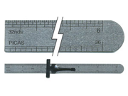 "C-Thru 6"" Stainless Steel Ruler With Clip 1"" x 6 1/4"" Pocket Ruler 16ths 32nds"