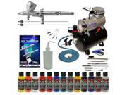 MASTER Dual Action Airbrush & Compressor Kit 12 Wicked Paint Colors Hobby Art