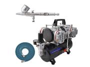 Master G23 Dual-Action Gravity AIRBRUSH KIT SET 4 Cylinder Piston Air Compressor