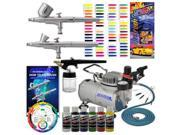 New 3 Airbrush Kit 6 Primary Colors Air Compressor Dual-Action Createx Wheel Set