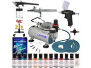 Deluxe 3 Airbrush Cake Decorating Kit Air Compressor 12 Food Coloring Set Holder