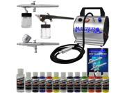 Pro 3 Airbrush System Kit Air Compressor 12 Color Createx Paint Set Hobby Art