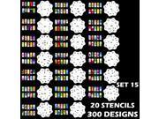 Set 15 300 Airbrush Nail Art STENCIL DESIGNS 20 Heart Template Sheets Kit Paint