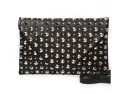 BMC Womens Black PU Leather Metal Stud Riveted Envelope Flap Crossbody Handbag